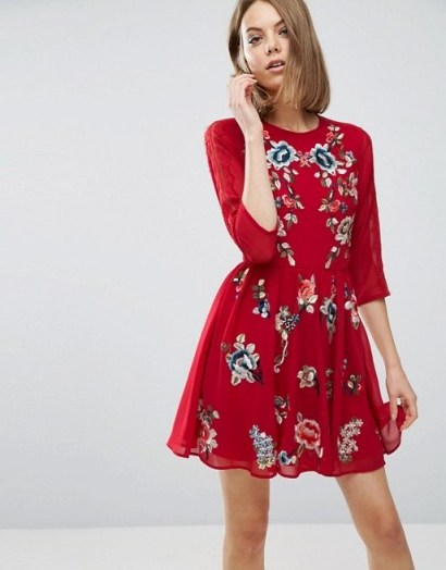 ASOS PREMIUM Mini Skater Dress with Floral Embroidery – looks gorgeous! - flipped