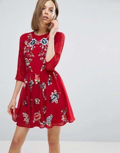 ASOS PREMIUM Mini Skater Dress with Floral Embroidery – looks gorgeous!