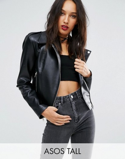 ASOS TALL Ultimate Leather Look Biker Jacket with Multi Stitch Detail – great for me!