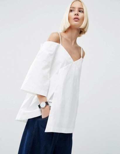 ASOS WHITE Wrap Cold Shoulder Top In Poplin – clean and simple - flipped