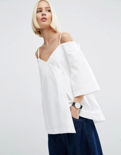 ASOS WHITE Wrap Cold Shoulder Top In Poplin – clean and simple