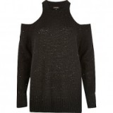 River Island Black sequin cold shoulder jumper looks great for Xmas