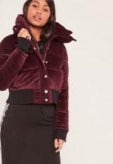 missguided burgundy velvet cropped padded coat. Dark red bomber jackets | on-trend coats