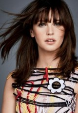 Felicity Jones's long dark layered hair with fringe ~ Photoshoot for Glamour