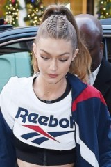 Gigi Hadid ponytail with top braid. Celebrity hair | star hairstyles | models off duty