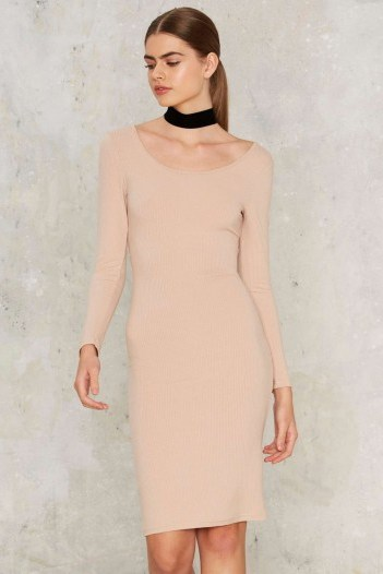 Glamorous In With the Nude Ribbed Dress – lovely style! Nasty Gal - flipped