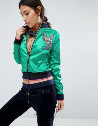 Juicy Couture Satin Bomber Jacket looks awesome!