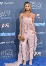 Kaley Cuoco's pink outfit at the Critics' Choice Awards in Santa Monica, Dec 2016