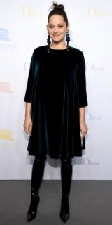 Marion Cotillard's pregnancy chic…dressed in a velvet Dior dress and patent over the knee boots. Celebrity fashion | French actresses | star style outfits