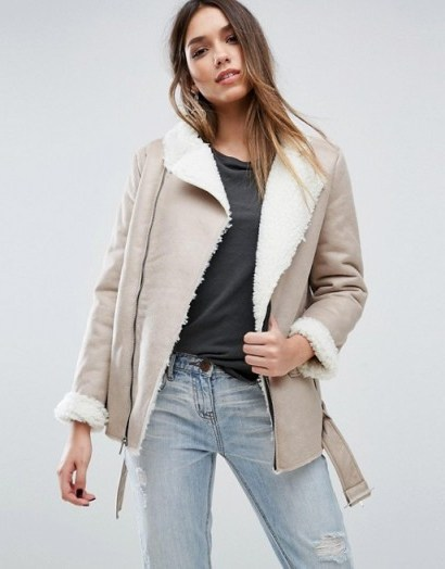 Missguided Shearling Lined Biker Jacket – love this style and look - flipped