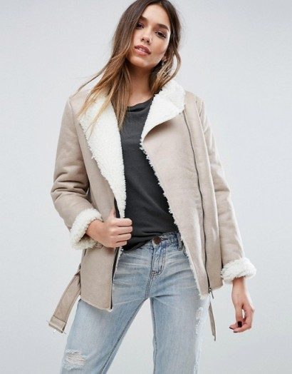 Missguided Shearling Lined Biker Jacket – love this style and look