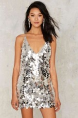 Motel Crash the Bash Sequin Dress ~ sequined party dresses | sparkly evening fashion ~ going out glamour ~ silver metallic sequins