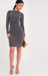 pretty little thing NAEVA GREY LUREX TWIST FRONT MIDI DRESS – going out bodycon dresses – affordable evening fashion – shimmering party dresses – glamour