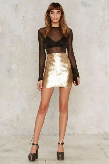 Nasty Gal Roxxanne Sequin Skirt and sheer top from Nasty Gal - flipped