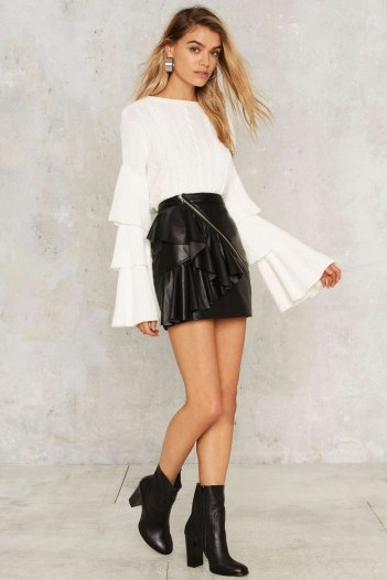 Nasty Gal Road to Ruin Ruffled Sweater – White looks great for the party season! - flipped