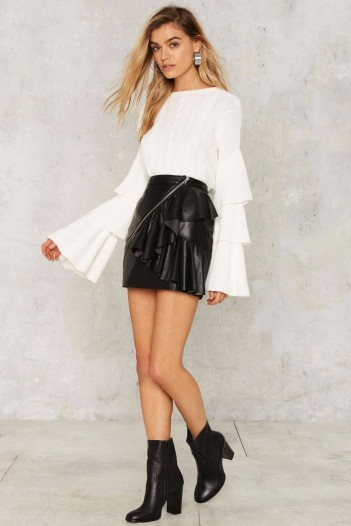 Nasty Gal Road to Ruin Ruffled Sweater – White looks great for the party season!