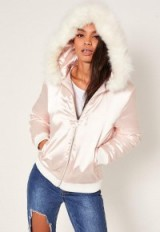 missguided satin faux fur hood padded bomber jacket nude. Casual jackets | on-trend winter outerwear | trending fashion