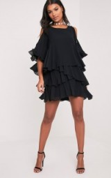 pretty little thing TESSA BLACK COLD SHOULDER RUFFLE SWING DRESS – ruffled party dresses – evening fashion – layered – christmas parties – going out glamour