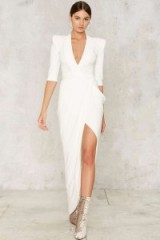NastyGal.com Zhivago Eye of Horus Slit Dress – White looks so chic!
