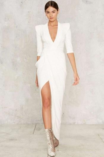 NastyGal.com Zhivago Eye of Horus Slit Dress – White looks so chic! - flipped