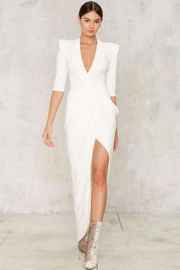 NastyGal.com Zhivago Eye of Horus Slit Dress – White looks so chic!