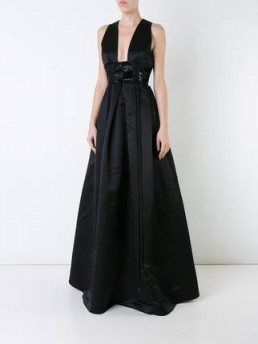 ALEX PERRY Hunter gown in black silk – red carpet style gowns – chic event wear – plunge front evening dresses – elegance – elegant style