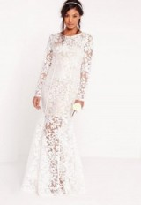 Missguided bridal lace open back maxi dress white – long semi sheer wedding dresses – affordable bridal gowns