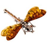 Be-Jewelled Dragonfly Brooch – silver and amber brooches – dragonflies – insect jewellery – insects