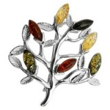 Goldmajor Amber Sterling Silver Tree Brooch – multi-colour brooches – accessories – jewellery