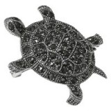 Goldmajor Marcasite Tortoise Brooch – animal brooches – cute reptile jewellery – stone jewelry – silver accessories