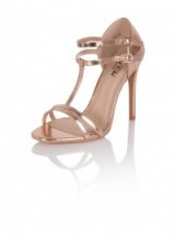 CHI CHI ABI HEELS ~ rose gold metallic shoes ~ strappy T-bar high heeled sandals ~ evening accessories