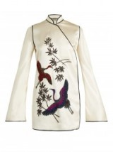 ATTICO Elena heron-embellished ivory satin kimono dress. Luxe mini dresses   oriental style tunics   mandarin collar   high neck   luxury fashion