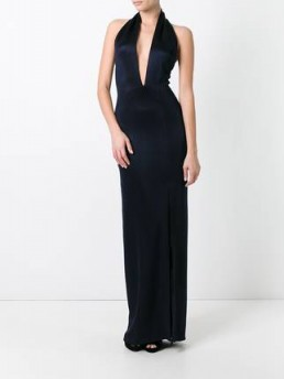 GALVAN Flyover Keyhole halterneck dress in midnight blue – long red carpet style dresses – glamorous halter gowns – plunge front evening fashion – glamorous occasion wear