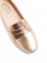TOD'S Gommini leather loafers ~ rose gold metallic flats ~ metallics ~ luxe style flat shoes