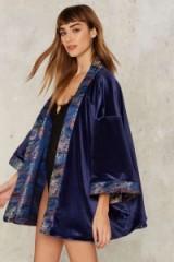 Jaded London Ren Reversible Jacquard Kimono. Oriental style fashion and prints   luxe style kimonos   floral printed jackets   blue velvet
