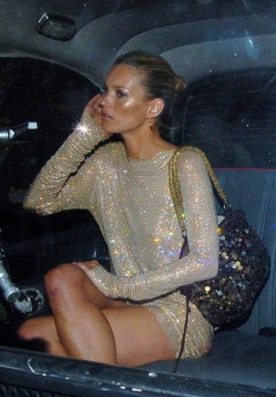 Kate Moss sparkles in a shimmering nude mini dress – glamour & glitz