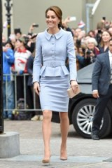 Catherine Duchess of Cambridge wearing a Catherine Walker pale blue peplum suit jacket and pencil skirt with nude accessories ~ royal fashion ~ Kate Middleton style