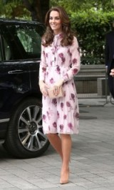 The Duchess wears a Kate Spade pink floral print dress and nude heels ~ Catherine Duchess of Cambridge style ~ Kate Middleton fashion ~ royal dresses