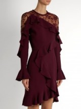 ELIE SAAB Lace-insert ruffle-trimmed dress mulberry-purple ~ ruffled dresses ~ designer occasion wear ~ evening fashion ~ effortlessly stylish event clothing ~ feminine