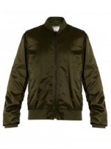 ACNE STUDIOS Leia ruched-sleeve bomber jacket. Casual luxe | cool designer fashion | dark green jackets | on-trend