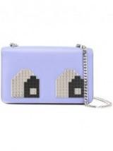 LES PETITS JOUEURS Eyes Mini Janis sky-blue leather shoulder bag – luxe crossbody bags – designer handbags