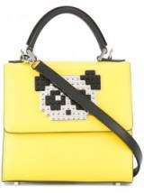 LES PETITS JOUEURS panda patch yellow leather tote