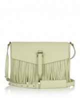 meli melo leather bags – maisie medium cross body bag lime fringing