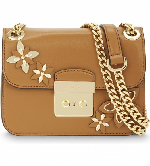MICHAEL MICHAEL KORS Floral Leather Cross-body Bag In Acorn ~ Smal ... | SnapFashionista.com