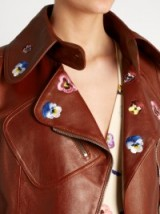CHRISTOPHER KANE Pansy-embroidered leather jacket in mahogany-brown ~ floral embroidered biker jackets ~ casual luxe