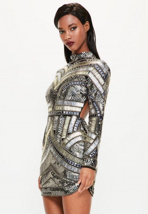 5d3337c6d2d6e peace + love black high neck embellished bodycon dress ...