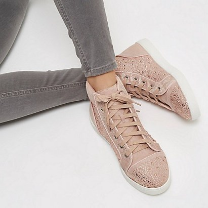 river island pink diamanté panel hi tops. Girly hi top trainers | embellished sneakers | casual flats | weekend flat shoes | on-trend footwear - flipped