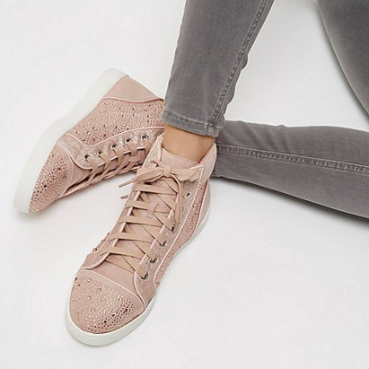 river island pink diamanté panel hi tops. Girly hi top trainers | embellished sneakers | casual flats | weekend flat shoes | on-trend footwear