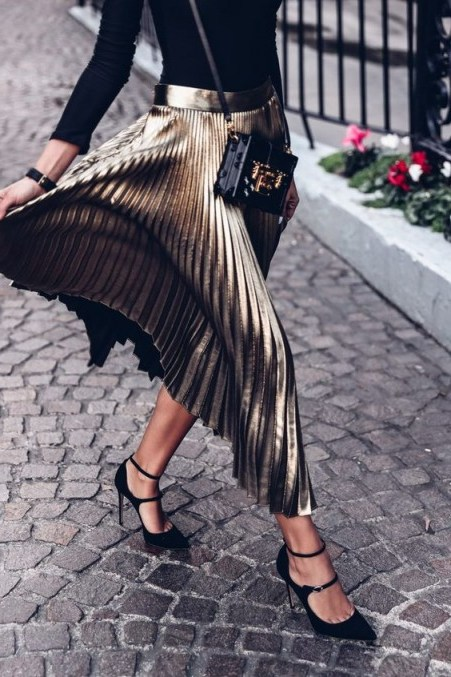 Add a touch of glamour with a pleated metallic midi skirt - flipped
