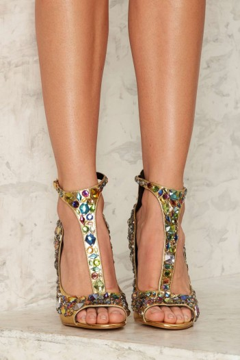 Privileged Mirage Jeweled Heel Gold Embellished High Heels Glamour Suede Red Statement Shoes Vegan Leather